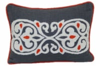 Brentwood Crewel Embroidery Decor Pillow - Rust