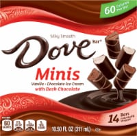 DOVE Minis Ice Cream Bars Variety Mix Vanilla and Chocolate Ice Cream with Dark Chocolate
