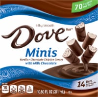 DOVE Minis Ice Cream Bars Variety Mix Vanilla and Chocolate Chip Ice Cream with Milk Chocolate