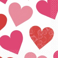 Amscan 509618 5 x 5 in. Key To Your Heart Valentines Day Beverage Napkin - Pack of 80 - 80