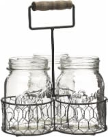 Mason Craft & More Chicken Wire Caddy and Glass Jars - Gray/Clear