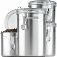 Anchor Hocking Stainless Steel Canisters with Acrylic Clamp-Top Lids - 4 Piece - Silver
