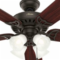 """Hunter Studio Series 52"""" Ceiling Fan with LED Lights and Pull Chain, New Bronze"""