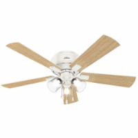 """Hunter Crestfield 52"""" Low Profile Ceiling Fan w/ LED Light and Pull Chain, White"""