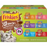 Friskies Gravy Sensations Farm & Fish Wet Cat Food Pouches Variety Pack 24 Count