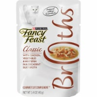Purina Fancy Feast Broths Classic Chicken Vegetables & Whitefish Gourmet Cat Complement