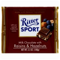 Ritter Sport Milk Chocolate with Raisins Hazelnut Bar