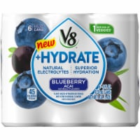 V8 +Hydrate Blueberry Acai Plant Based Hydrating Beverage 6 Cans