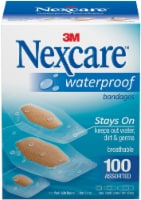 Nexcare Waterproof Bandages 100/Pkg-Assorted Sizes - 1