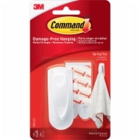 Command Spring Hook, 1 1/8w X 3/4d X 3h, White, 1 Hook/Pack 17005ES - Assorted