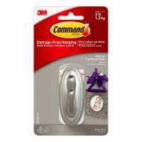 Command™ Damage-Free Hanging Medium Traditional Hook - Brushed Nickel