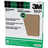 3M All-Purpose 9 In. x 11 In. 220 Grit Very Fine Sandpaper (25-Pack) 99401NA - 1