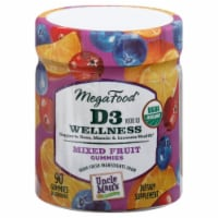 MegaFood Organic D3 Wellness Mixed Fruit Gummies 1000 IU