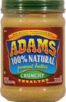 Adams Unsalted 100% Natural Unsalted Crunchy Peanut Butter