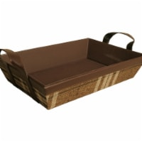 Wald Imports 9159 Plaid Faux Leather & Fabric Tray, Brown - 1