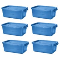 Rubbermaid Roughneck Tote 10 Gallon Storage Container, Heritage Blue (6 Pack) - 1 Piece