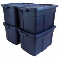 Rubbermaid Roughneck 25 Gallon Stackable Storage Container, Dark Indigo, 4 Pack - 1 Piece