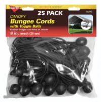 Keeper Canopy Bungee Toggle Ball Cords - 25 Pack - Black - 0.32 x 8 in