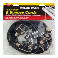 Keeper Heavy Duty Bungee Cords - Black - 6 pc