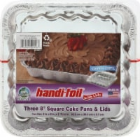 Handi-foil® Eco-Foil® Cook-n-Carry® Square Cake Pans & Lids 3 Pack - Silver