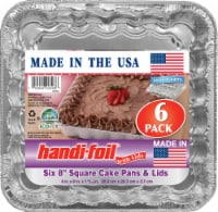Handi-foil® Cook-n-Carry® Square Cake Pans & Lids - 6 Pack - Silver