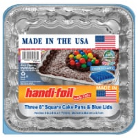 Handi-foil® Cook-n-Carry® Square Cake Pans and Lids - Silver/Blue