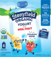 Stonyfield Organic Kids Lowfat Strawberry Banana Yogurt Pouches 4 Count