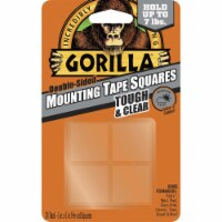 Gorilla 1 in. W x 1 in. L Mounting Squares Clear - Case Of: 6; Each Pack Qty: 4; Total Items - Case of: 6