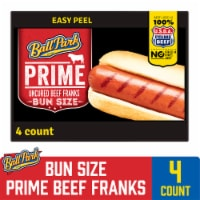 Ball Park Prime Beef Hot Dogs Bun Size Length 4 Count