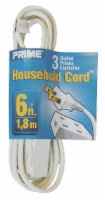 Prime 3-Outlet Household Extension Cord - White