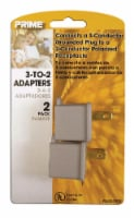 Prime 3-to-2 Grounding Power Adapter - Gray