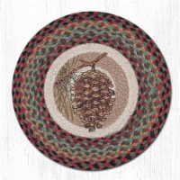 Capitol Importing 49-CH081P 15.5 x 15.5 in. Pinecone Printed Round Chair Pad - 1