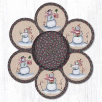 Capitol Importing 56-508S 10 in. Snowman Jute Trivets in a Basket - 1