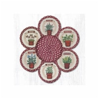 Capitol Importing 56-524H 10 in. Herbs Jute Trivets in a Basket - 1