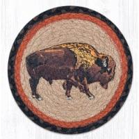 Capitol Importing 80-240B 10 in. Jute Round Buffalo Printed Trivet - 1