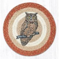 Capitol Importing 80-9-101O 10 in. Jute Round Owl Printed Trivet - 1