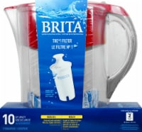 Brita Grand 10-Cup Water Filtration Pitcher - Red - 10 c