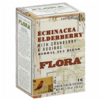 Flora Echinacea Elderberry with Cranberry and Rooibos Herbal Tea Blend 16 Count