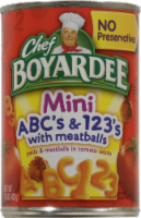 Chef Boyardee Mini ABC's & 123's Pasta with Meatballs Pasta in Tomato Sauce