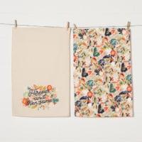Danica Studio Cotton Linen Dish Towels Coordinated Prints Superbloom Set of 2 - Set of 2