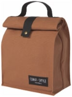 Heirloom 100% Cotton Lunch Bag for Work and School with Magnetic Closure Brown - 1 each
