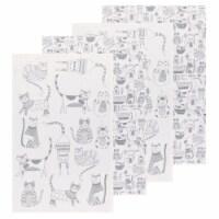 Now Designs Flour Sack Printed Cotton Kitchen Towel Cats London Gray Set of 4 - Set of 4