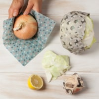 3Pcs Reusable Food Wraps Natural Beeswax (3 Sizes) by Ecologie -Cats - Set of 3