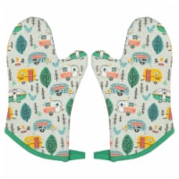 Jubilee Heat Resistant Quilted Oven Mitts Happy Camper Set of 2 - Set of 2