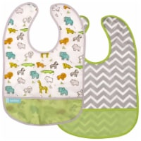 CleanBib WP Bib 2pk 6-12m Wht Safari/Grn Chevron