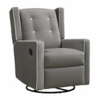 Baby Relax Mikayla Swivel Glider Recliner Chair, Gray Microfiber
