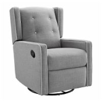Baby Relax Mikayla Swivel Glider Recliner Chair, Pocket Coil Seating, Gray Linen