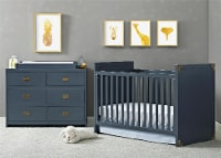 Baby Relax Miles Dresser Topper, Graphite Blue Wood - 17.25 x 33.50 x 4.75
