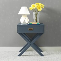 Baby Relax Miles Nightstand, Graphite Blue Wood - 18.00 x 20.75 x 25.00