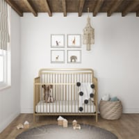 Baby Relax Juniper 4-in-1 Convertible Metal Crib, Gold